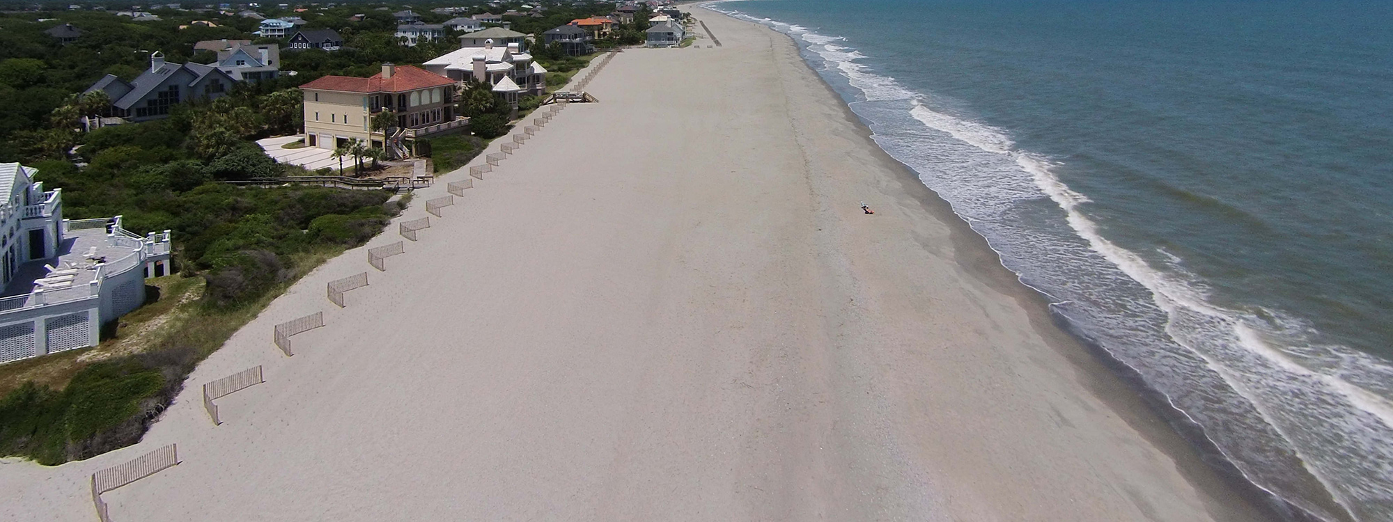 Aerial view of the beach at DeBordieu Colony in South Carolina