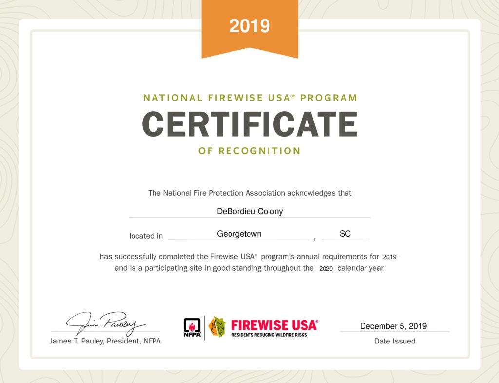 2019 Firewise USA status awarded