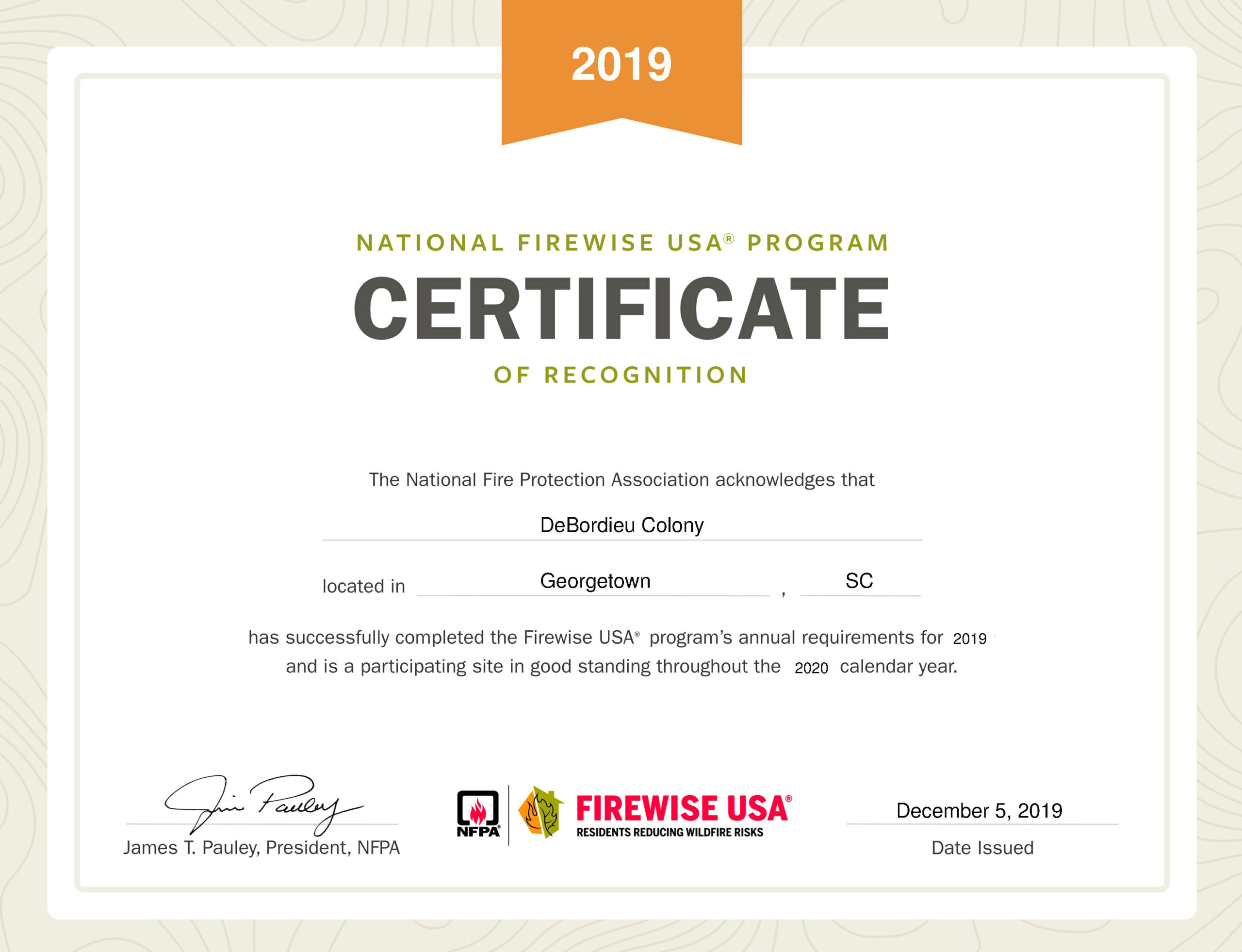 2019 Firewise USA status awarded