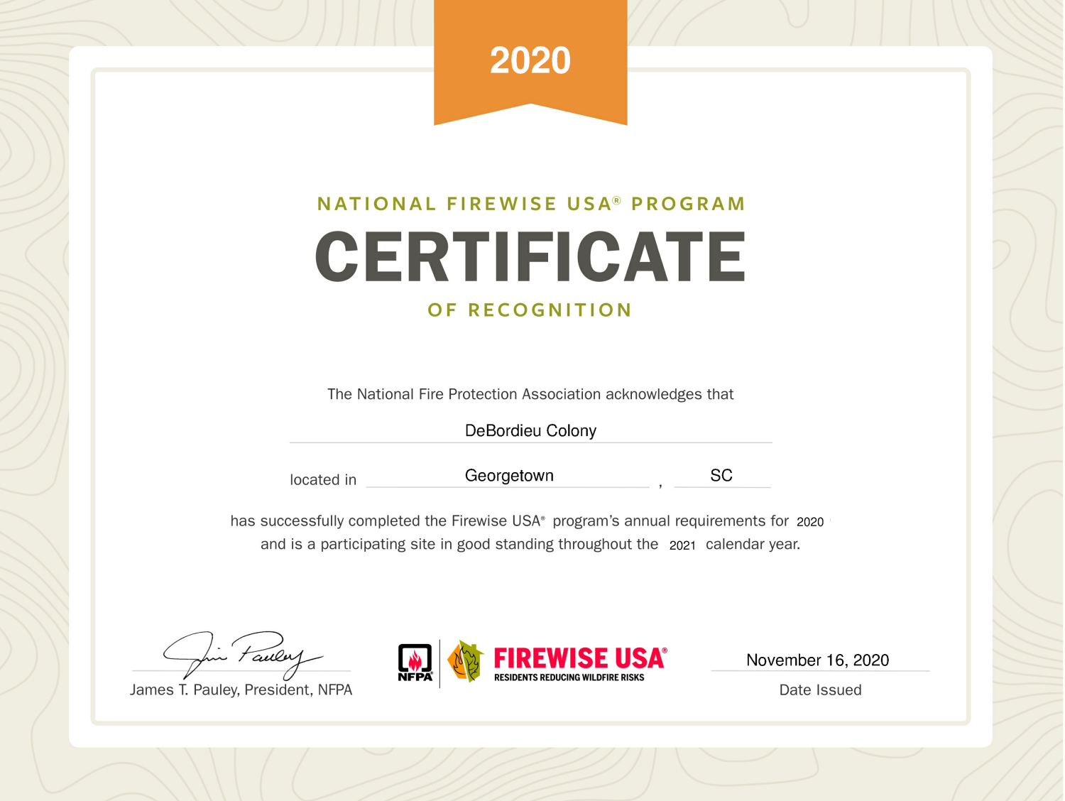 2020 Firewise USA status awarded
